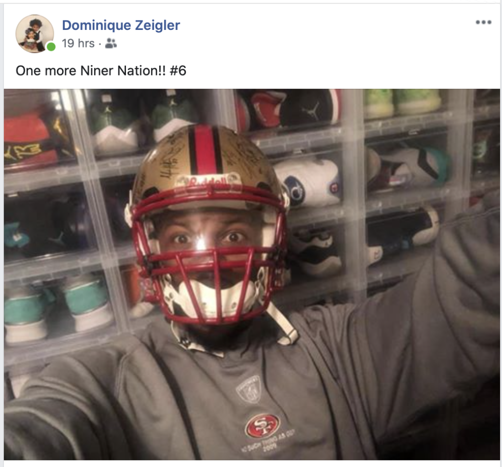 Former Harker Heights/49ers Football Star Dominique Zeigler Celebrates The Win